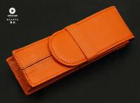 Wancher Japan Quality Orange Genuine Leather Fountain Pen Case 2 Pens Pouch NEW