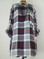 NWT Jane Ashley Women Shirt Top 3X Plus White Navy Red Plaid Embroidered