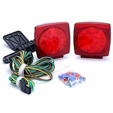"""Pair LED Waterproof Square Light Kit Trailer Under 80"""" Tail Stop,W/Wire Kits -BM"""
