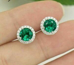 4Ct Round Cut Emerald & Diamond Push Back Halo Stud Earrings 14K White Gold Over