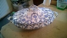 ANTIQUE? Vintage Blue & White Casserole Serving Dish Plate 12 Inches Long