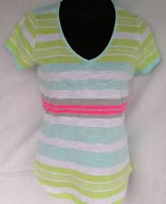 Cotton Blend Short Sleeve Machine Washable Striped T-Shirts for Women