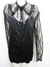 NWT $1,253 DOLCE & GABBANA Womens Black Lace Button Down Silk Shirt Top 42 IT 6