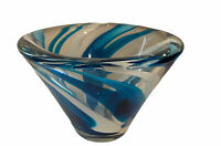 VTG Art Glass Dish Vase Centerpiece Blue Turquoise & White Swirl MCM Heavy Thick