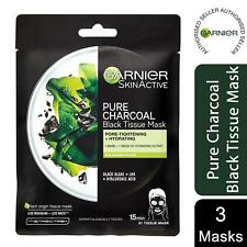 1x or 2x Garnier Skin Active Hydrating Pure Charcoal Black Tissue Mask, 28g