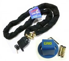 Motorcycle bike security chain lock 1.8m heavy duty with steel ground anchor