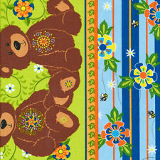 Fabri-Quilt Mystic Forest Bear Stripe Blue 100% cotton fabric by the yard
