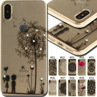 For ZTE Apple iPhone TPU Silicone Cover Bling Rhinestone Soft Back Crystal Case