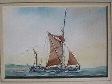 VINTAGE FISHING THAMES BARGE SCHOONER ESSEX LONDON UK WATERCOLOR FINE PAINTING