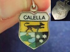 Vintage 800 Plata Calella España Esmalte Escudo De Viaje FOB pulsera con dijes Crest