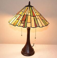 "16""W Mission style Stained Glass Handcrafted Table Desk Lamp, Zinc Base!"