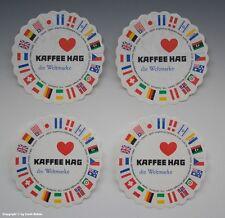 4 x Werbeuntersetzer aus Papier KAFFEE HAG um 1960