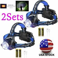 2X LED  350000LM Zoom Focus Headlamp Rechargeable Headlight Head Torch Battery