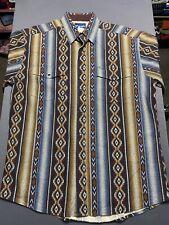 VTG Wrangler Navajo Aztec Southwestern Pearl Snap Short Sleeve Shirt LARGE EUC