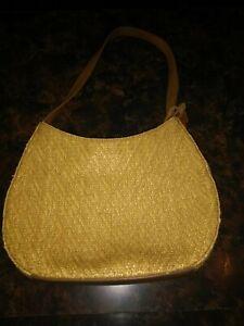 FOSSIL 75082 Multicolor Woven Natural Leather Satchel Purse Handbag Rattan Bag