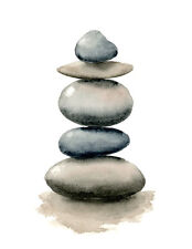 Stacked Rocks Art Print Watercolor Contemporary Painting