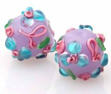 10pcs handmade Lampwork glass  Beads purple blue flower round  14mm