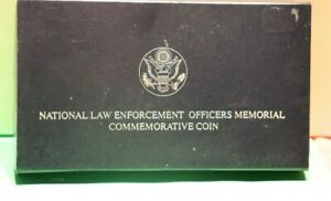 1997 P Proof National Law Enforcement Silver $1 Proof Commemorative Coin + Box