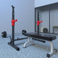 550LBS Max Load Adjustable Squat Stand Dipping Station Weight Bench Barbell Rack