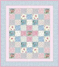Dollhouse Miniature Blue & Pink Patchwork Quilt Top Computer Printed Fabric