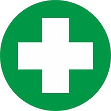 First Aid Symbol Sign 90mm Round Self-adhesive Vinyl Sticker Health & Safety