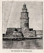 Stampa antica CIVITAVECCHIA veduta Lanterna del porto Roma 1897 Old Print