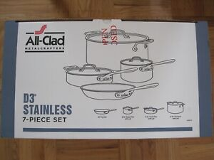 NEW IN SEALED BOX ALL CLAD D3 STAINLESS STEEL 7 PIECE COOKWARE SET
