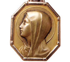 18K ORIA GOLDFILLED MINT ANTIQUE JEWEL MEDAL PENDANT WITH PORTRAIT TO HOLY MARY