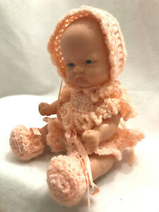 """Vintage Playmates Vinyl 8"""" Doll 4094 Hand Crocheted Peach Dress Outfit 1900s"""