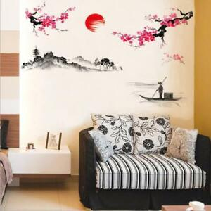 US STOCK Wall Sticker Plum Blossom Club Chinese Painting Decal Mural Living Room