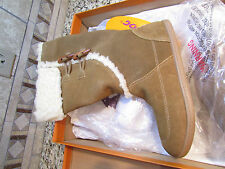 NEW ROCKET DOG LEGION SUEDE BOOTS WOMENS 8 BROWN LEATHER W/FUR  FREE SHIP