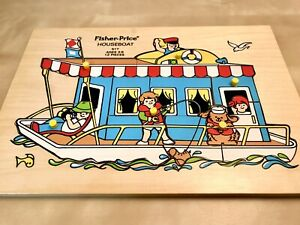 VINTAGE FISHER PRICE Wooden Peg Puzzle Houseboat Theme # 517 Preschool RARE Peek