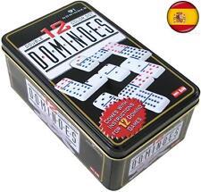 91 Fichas juego de domino Doble 12 caja metal Dominoes DE COLORES