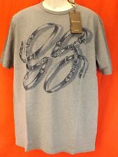 NWT GUCCI GRAY COTTON GG BELTS HORSEBIT LOGO SHORT SLEEVES T- SHIRT XL