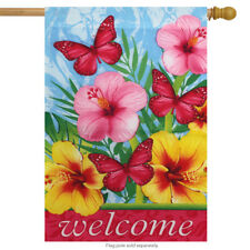 "Floral Welcome Spring House Flag 28"" x 40"" Briarwood Lane"