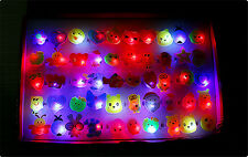5Pcs Flashing Jelly LED Cartoon Ring Pinata Fillers Kids Girl Party Favor NUEVO