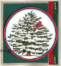 CARDINAL SNOWY PINE TREE SCENE Wood Mounted Rubber Stamp NORTHWOODS PP10160 New
