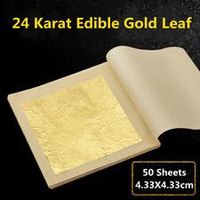 50 Pcs 24K Edible Gold Foil Leaf For Cooking Food Cake Decor Craft 4.33cmX4.33cm