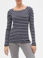 GAP Favorite T-Shirt Navy Blue & White Stripe Long Sleeve NEW SZ-XS,S,M,L,XL