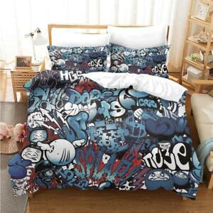Hip-Hop Graffiti Young Quilt Doona Duvet Cover Set Single Double Queen Size Bed
