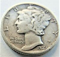 1939 UNITED STATES, Mercury Dime grading About VERY FINE.