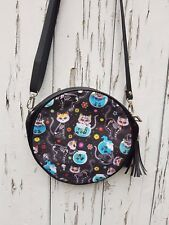 Skeleton Candy Skull Cat Round Handbag - Skull Halloween Kitten Bag Clutch