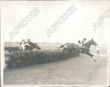 1937 Aqueduct Track Jockey J Eaby on Galyarrow Lead Hurdle Race Press Photo