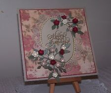 """Vintage handcrafted birthday card """"Antique red roses"""" with verse."""