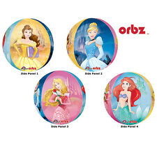 "Belle Cinderella Disney Princesses 4 Sides Orbz 16"" Round Balloons Party 3 Pack"