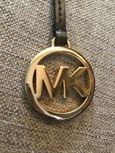 Michael Kors MK Logo Gold Tone Hang Charm Key Fob Olive Green Leather Strap NEW