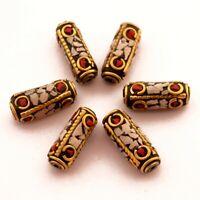Coral White Howlite Brass 6 Beads Tibetan Nepalese Ethnic Handmade Nepal UB70