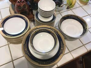 Cobalt Blue Gold Scroll Melamine Dinnerware Dining Set - Srithai Superware
