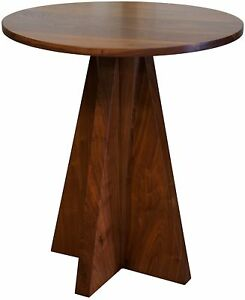 """28.5"""" T Set of Two Nia Side Table Solid Natural Walnut Angular Wooden Base"""