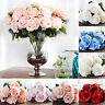 10 Heads Artificial Silk Fake Rose Flowers DIY Wedding Party Home Office Decor